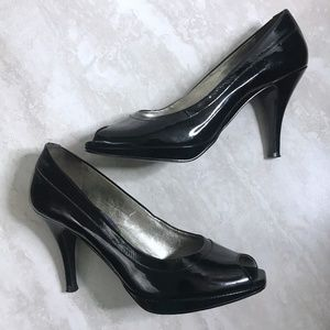 Gianni Binni 6 Open Toe Black Patent Heels Pumps